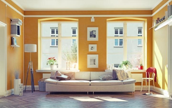 Màu vàng tràn đầy năng lượng giúp xua tan đi không khí ảm đạm của mùa đông, vàng thường phù hợp sử dụng trong phòng khách, ban công
