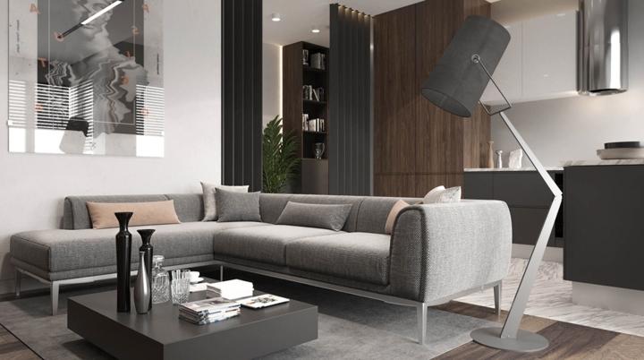 Ghế sofa, bàn trà và thảm trải sàn đóng khung khu vực tiếp khách