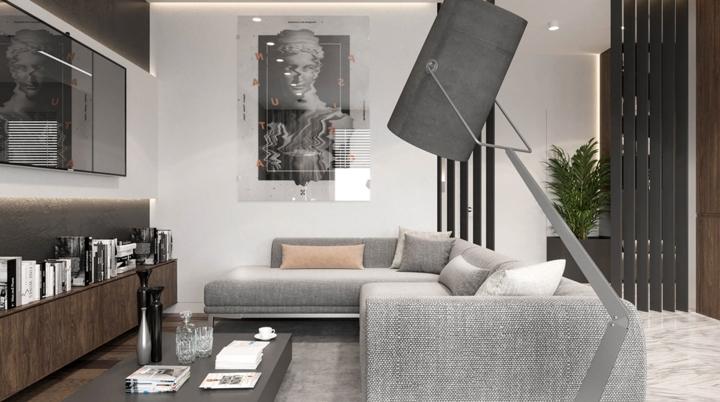 Nội thất màu xám giúp khách cảm nhận phong cách mạnh mẽ, trầm ổn của chủ nhân