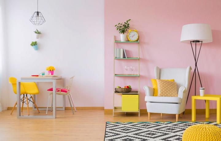 Màu hồng phù hợp để sơn trong phòng trẻ em hoặc phòng con gái