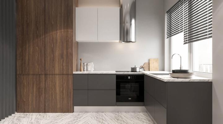 Mặt tủ bếp bằng đá cẩm thạch mang đến cảm giác sáng và thông thoáng