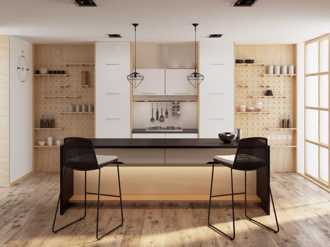 Tủ bếp được có thiết kế liền khối, nhiều giá để vật dụng giống như một quầy bar