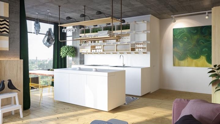 Tủ bếp sáng màu có nhiều giá để đĩa, ly và cốc thuận tiện cho việc bày biện và nấu ăn