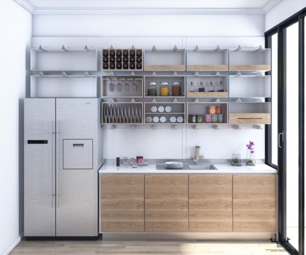 Tủ bếp có vân gỗ màu vàng tự nhiên kết với mới màu trắng sẽ khiến cho không gian nhà bếp trở nên sạch sẽ, sáng sủa hơn