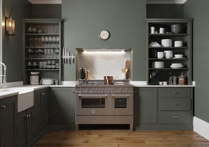Màu xanh ô liu là gam màu chủ đạo trong không gian nhà bếp, trông khá ấm cúng và cổ điển