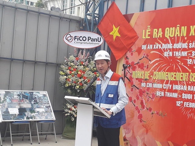 Phó Chủ tịch Trần Vĩnh Tuyến phát biểu tại lễ ra quân... Ảnh: H.V
