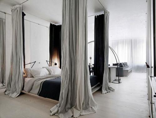 Căn hộ được thiết kế đơn giản, không sử dụng tường bao ngăn cách để tạo không gian mở