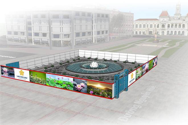 Mô hình thiết kế đài phun nước trên phố đi bộ Nguyễn Huệ. Khi thi công xong phần rào chắn sẽ được tháo dỡ