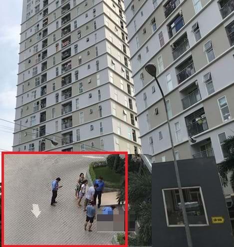 Hiện trường vụ việc bé gái rơi tầng 9 Chung cư Thủ Thiêm Sky xuống đất tử vong. Ảnh: TL