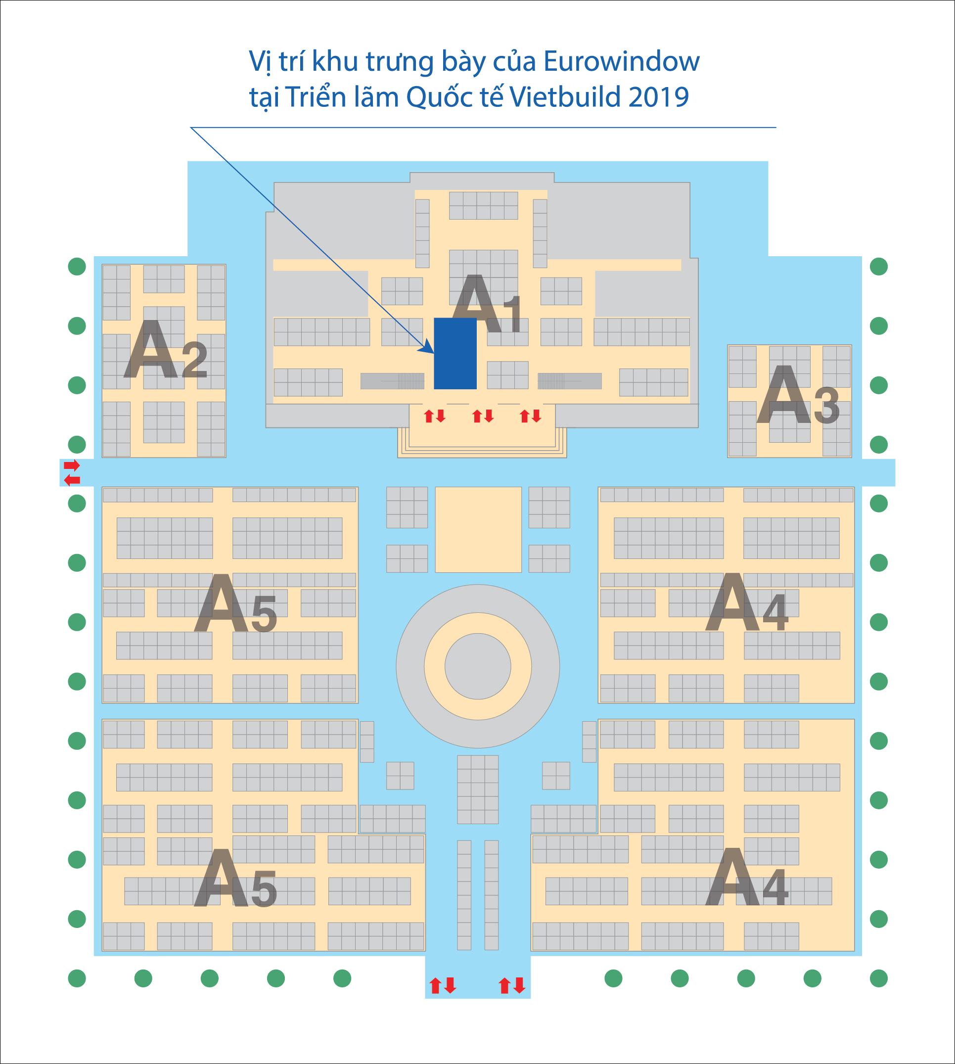 Sơ đồ vị trí khu trưng bày sản phẩm của Eurowindow tại Triển lãm Vietbuild Hà Nội 2019