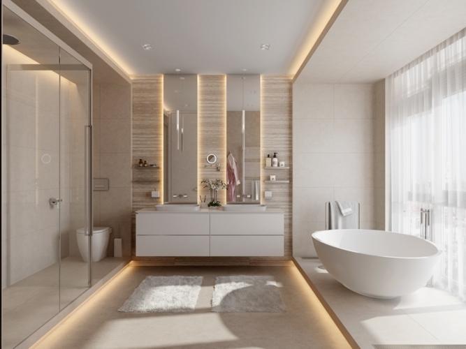 Phòng tắm hiện đại lấy sáng đầy đủ từ đèn và cửa kính