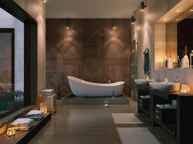 Trang trí bằng gỗ tối màu tạo ra một cái nhìn xa hoa cho căn phòng