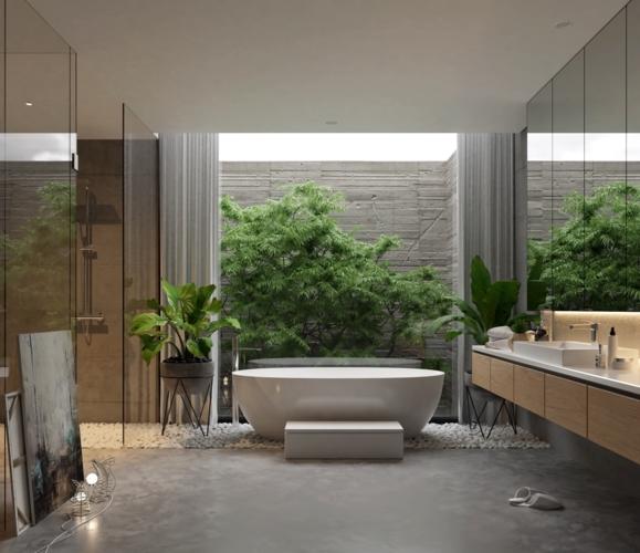 Nhà tắm bố trí một nửa ngoài trời một nửa trong nhà không cần quá nhiều thiết bị chiếu sáng