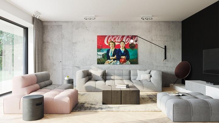 Tường bằng bê tông mang đến một cái nhìn hơi cổ điển cho phòng khách đối lập với nội thất hiện đại xung quanh