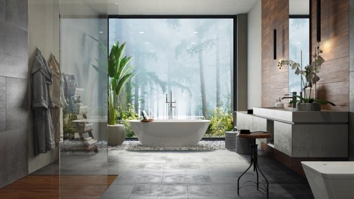 Bức tranh treo tường giúp không gian phòng tắm thêm sâu và thu hút, ánh sáng từ trần phòng tắm cung cấp năng lượng để cây trong phòng phát triển