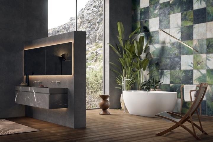 Không gian phòng tắm chính là cây cầu kết nối thiên nhiên bên ngoài với nội thất bên trong ngôi nhà