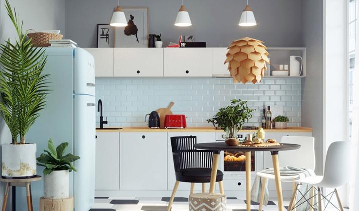 Nội thất nhà bếp bố trí thông minh, mặt tủ bếp trên có thể dùng để lưu trữ khiến không gian nhỏ nhưng không ngột ngạt