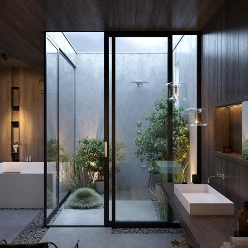 Một phòng tắm bố trí bao quanh khu vườn nhỏ bên ngoài
