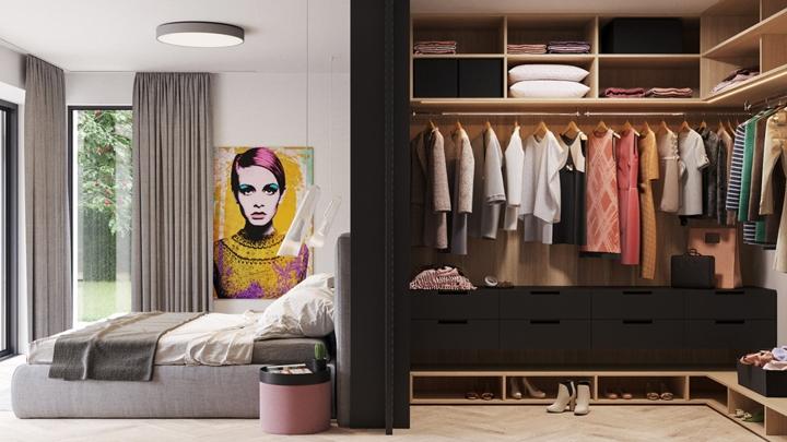 Phía sau giường là tủ quần áo được trang trí với vô số khối vuông bằng gỗ