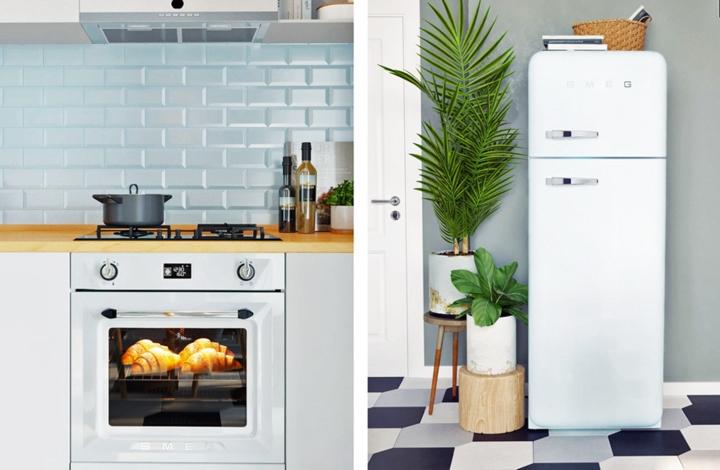 Tủ lạnh đặt gọn gàng sát tường bên cạnh chậu cây trang trí, tường nhà bếp ốp đá màu xanh mang lại cái nhìn tươi sáng cho khu vực này