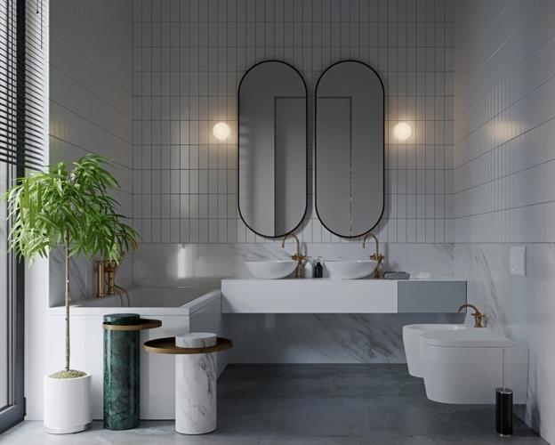 Cửa bên hông kết nối phòng tắm với khu vườn bên ngoài