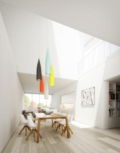 Bộ bàn ghế ăn đặt bên cạnh giếng trời cần rất ít năng lượng chiếu sáng