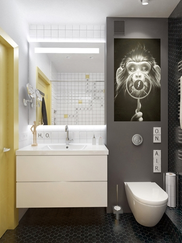 Tường phòng tắm được chia thành hai sắc thái trắng và xám đối lập
