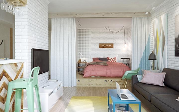 Sàn giật cấp bố trí ở cuối phòng, trên đó là giường ngủ tạo sự tách biệt