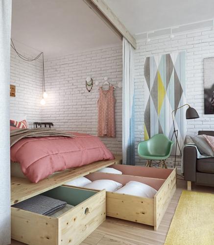 Khung giường tích hợp thêm ngăn kéo lưu trữ để sắp xếp các loại chăn gối