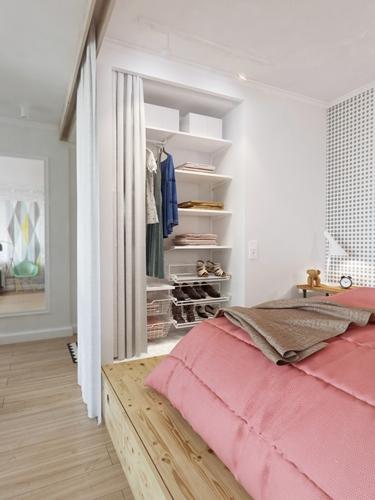 Tủ quần áo âm tường kết hợp với màn cửa là tấm màn che tiết kiệm diện tích và dễ truy cập khi cần sử dụng