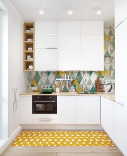 Tủ bếp màu trắng lấy cảm hứng từ những sản phẩm nội thất hiện đại, tiện nghi