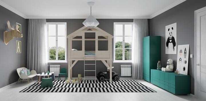 Những đồ vật sáng màu trên nền tường màu ghi xám đã khiến cho phòng ngủ trở nên nổi bật hơn. Trẻ như lạc vào không gian của thế giới động vật