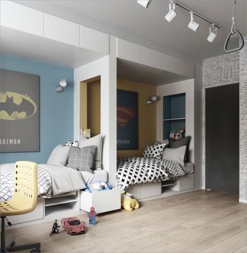 Phòng ngủ có 2 giường kề liền nhau rất phù hợp cho gia đình nào đông con nhưng diện tích căn nhà khiêm tốn