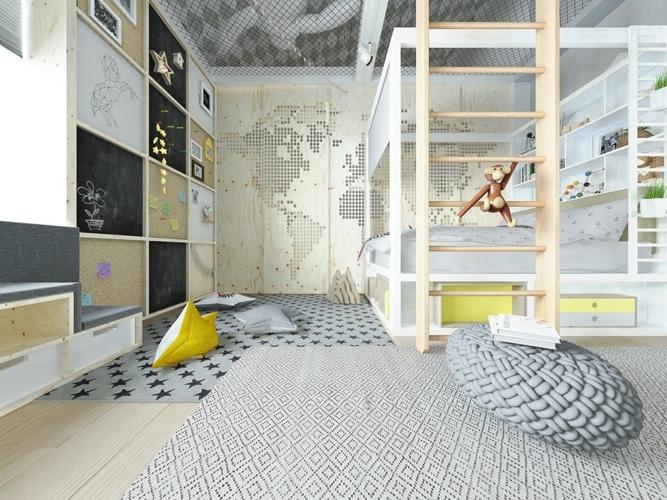 Phòng ngủ có giường tầng và tủ để đồ được bố trí thành nhiều ngăn