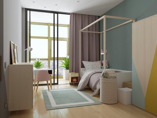 Những gam màu trắng sáng của những vật dụng và màu hồng phấn từ chiếc rèm cửa đã tạo nên không gian ấm cúng khi bước vào phòng