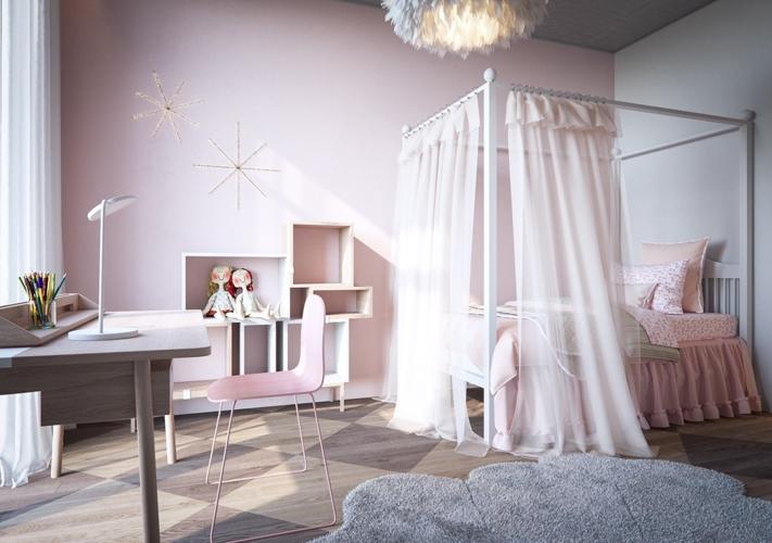 Không gian phòng ngủ của trẻ trở nên ấm áp hơn khi có tường, rèm giường và một số vật dụng có màu hồng phấn nhẹ nhàng