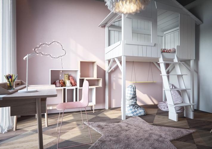 Giường ngủ của trẻ được thiết kế hình ngôi nhà có cầu thang lên xuống khiến trẻ như lạc vào thế giới của những câu chuyện cổ tích