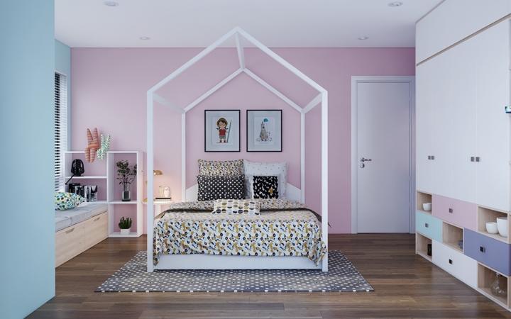 Những màu sắc trắng sáng, nhẹ nhàng và cách bài trí đồ vật một cách gọn gàng đã tạo nên sự sáng sủa cho phòng ngủ mang phong cách hiện đại.