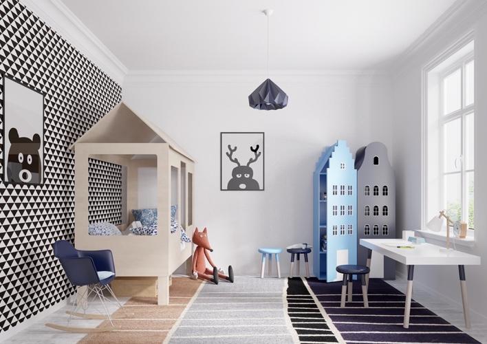 Trẻ sẽ rất thích thú khi bước vào phòng ngủ có chiếc giường hình ngôi nhà và các đồ vật trang trí gần gũi với thiên nhiên, động vật