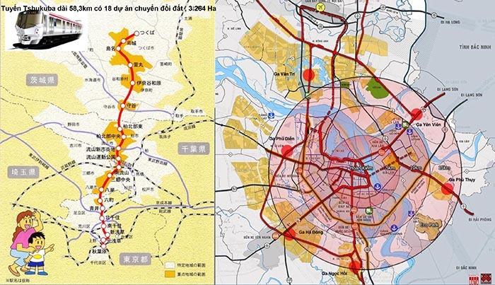 Các dự án điều chỉnh đất ở của tuyến ĐSĐT Tokyo - Tsukuba theo mô hình TOD (Nguồn: TS Naohisa Okamoto); Sơ đồ tích hợp đường sắt đô thị và đường sắt quốc gia tiếp cận các dự án đô thị lớn Hà Nội - đề xuất của Citysolution 2018 (Nguồn: Hanoidata)
