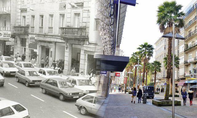 Hình ảnh trước và sau khi Pontevedra cấm ôtô