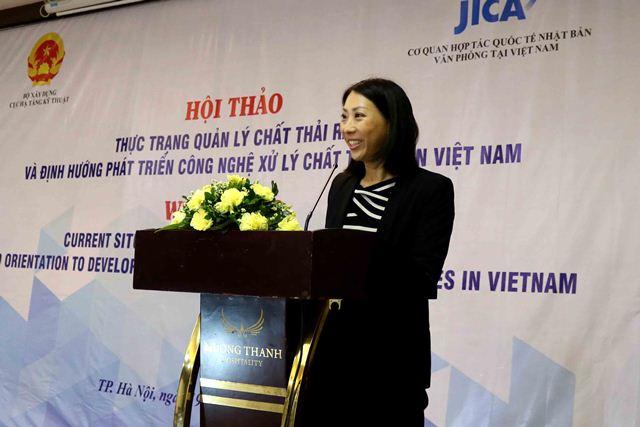 Đại diện tổ chức JICA - bà Kanto Yuko phát biểu tại Hội thảo