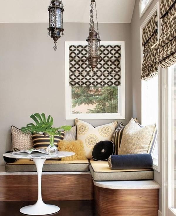 Có thể nói, ghế liền tường là sự lựa chọn thích hợp nhất với phòng khách có diện tích nhỏ.