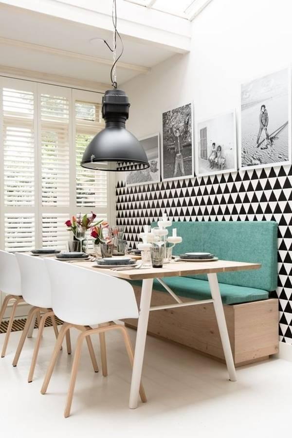 iết kiệm không gian phòng ăn nhờ bố trí ghế liền tường.