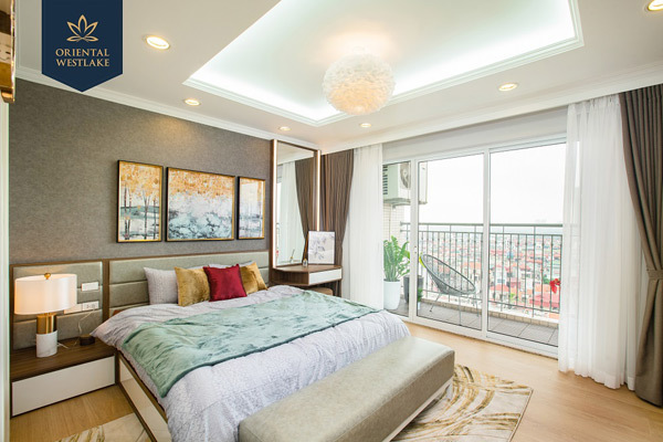 oàn bộ phòng khách, phòng ngủ tại Oriental Westlake đều có cửa sổ lớn để đón ánh sáng tự nhiên và không khí trong lành từ Hồ Tây