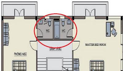 Phòng tắm không nên đặt ở trung tâm căn nhà
