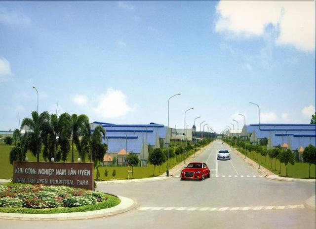Cổng chính vào KCN Nam Tân Uyên (Ảnh website công ty)