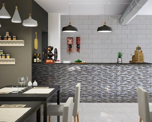 Vách ngăn quầy bar với gạch ốp họa tiết châu Âu cổ điển, phân khu giữa bếp và phòng ăn