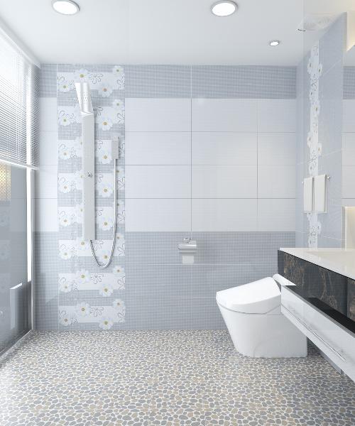 Sự phân khu trong phòng tắm nhờ vách ốp gạch
