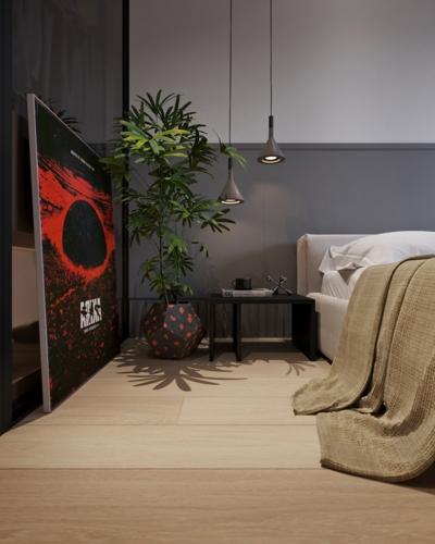 Hai đèn mặt dây chuyền chiếu sáng khu vực đầu giường